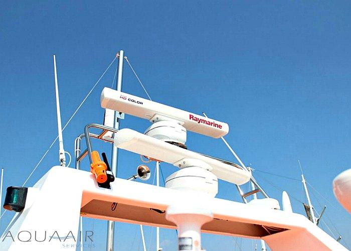 radar van de boot stellendam2 die ingezet wordt voor asverstrooiing en asbijzetting op de noordzee