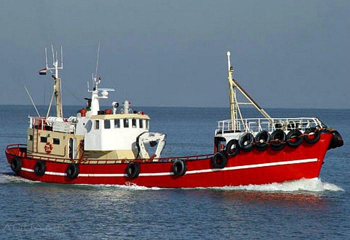Schip voor een asverstrooiing op de Noordzee vanuit Scheveningen